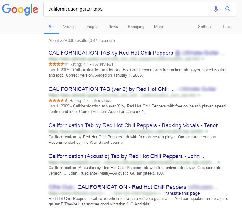 como aprender solo de guitarra californication google